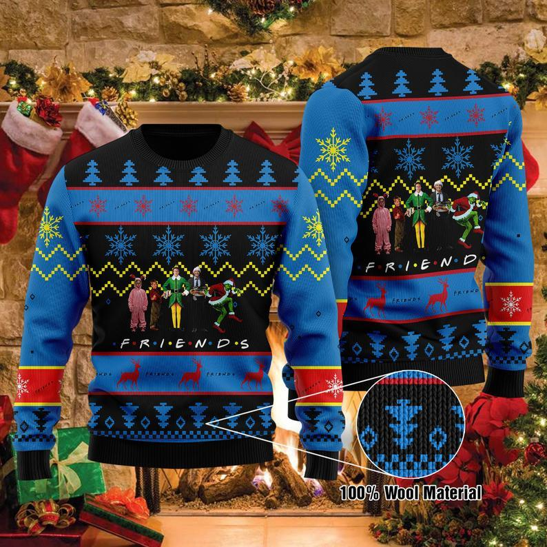 Funny Christmas Vacation Movie Watching Ugly Sweater