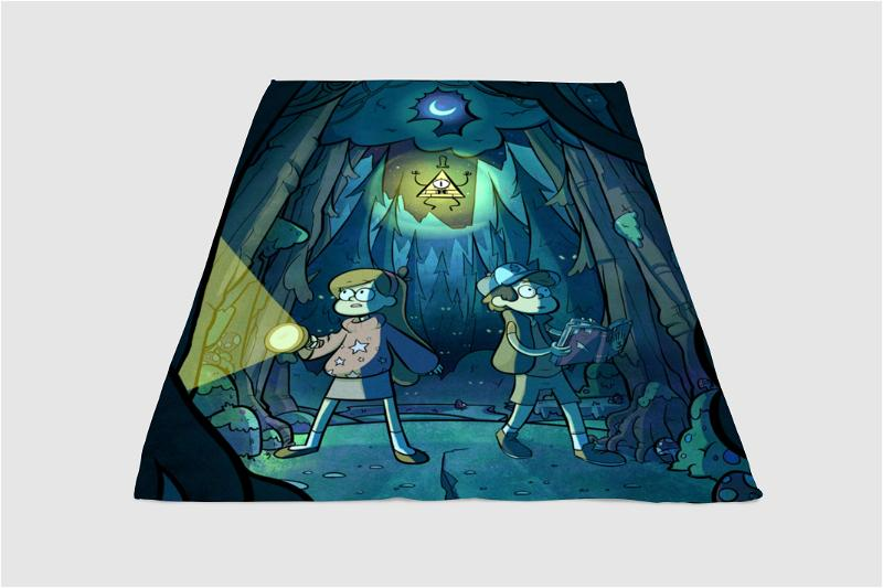 Gravity Falls In The Night Fleece Blanket