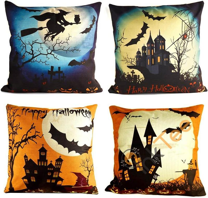 Happy Halloween Decorative Throw Pillow Cover Cushion Case With Spider/moon/bat Personalized Gifts