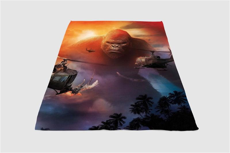 Helicopter Kong Skull Island Fleece Blanket