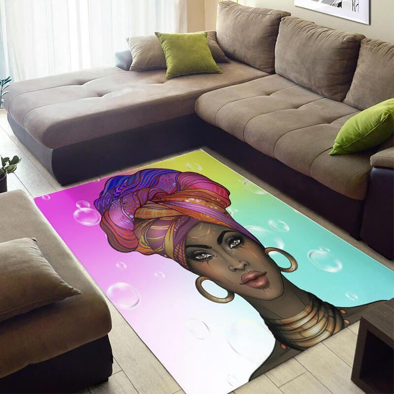 Inspired African Beautiful American Art Woman Themed Living Room Rug