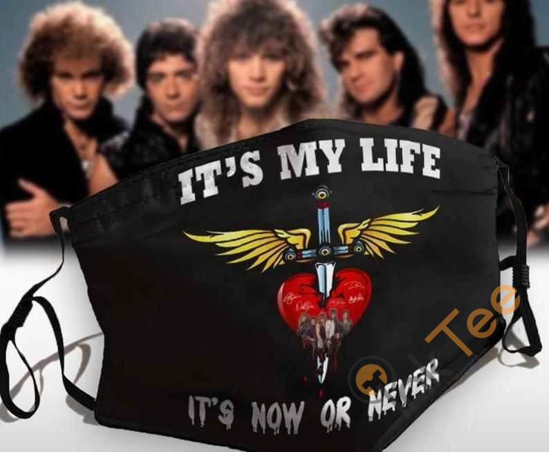 It's My Life ' Now Or Never Bon Jovi Rock Band Fans Anti Droplet Filter Cotton Face Mask