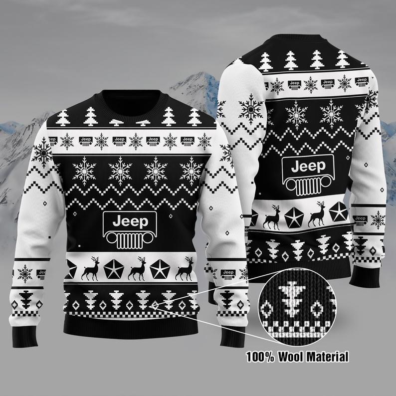 Jeep Christmas 100% Wool Lover Girl Ugly Sweater