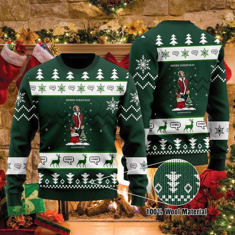 Liam Gallagher Christmas Tree 100% Wool Ugly Sweater