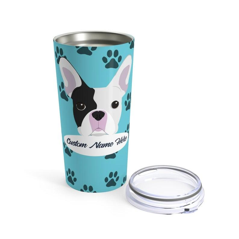 Love My French Bulldog - Personalized Custom Travel Mug For Hot Coffee Cold Drinks - 20oz With Lid Dishwasher Safe Stainless Steel Tumbler