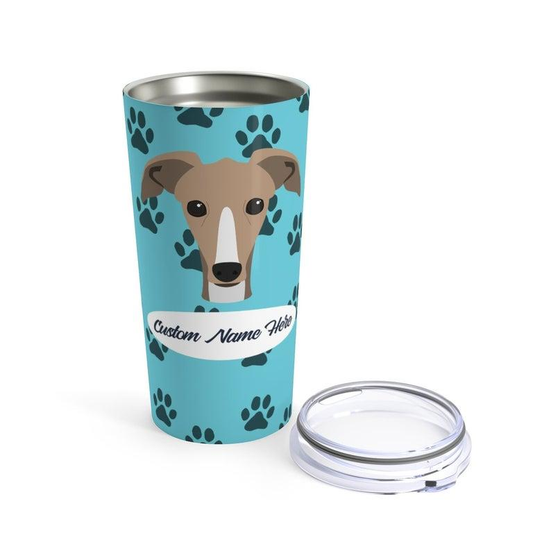 Love My Greyhound - Personalized Custom Travel Mug For Hot Coffee Cold Drinks - 20oz With Lid Dishwasher Safe Stainless Steel Tumbler