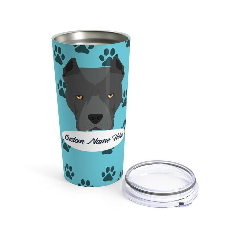 Love My Pitbull - Personalized Custom Travel Mug For Hot Coffee Cold Drinks - 20oz With Lid Dishwasher Safe Stainless Steel Tumbler