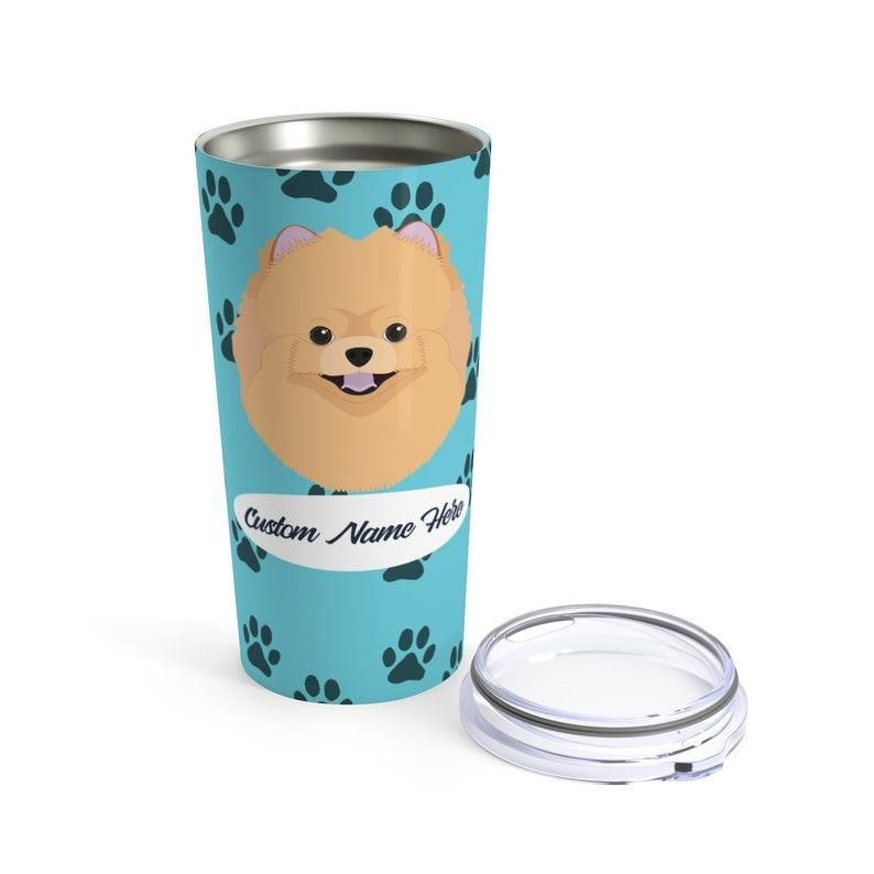 Love My Pomeranian - Personalized Custom Travel Mug For Hot Coffee Cold Drinks - 20oz With Lid Dishwasher Safe Stainless Steel Tumbler