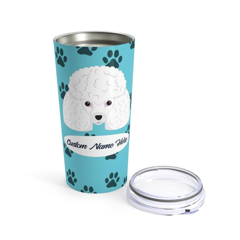 Love My Poodle - Personalized Custom Travel Mug For Hot Coffee Cold Drinks - 20oz With Lid Dishwasher Safe Stainless Steel Tumbler