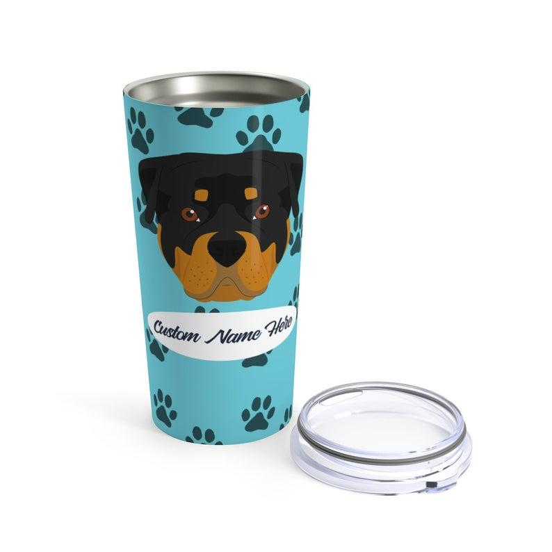 Love My Rottweiler - Personalized Custom Travel Mug For Hot Coffee Cold Drinks - 20oz With Lid Dishwasher Safe Stainless Steel Tumbler