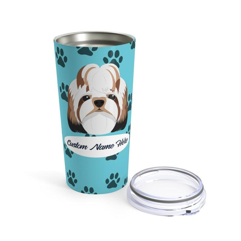 Love My Shih Tzu - Personalized Custom Travel Mug For Hot Coffee Cold Drinks - 20oz With Lid Dishwasher Safe Stainless Steel Tumbler