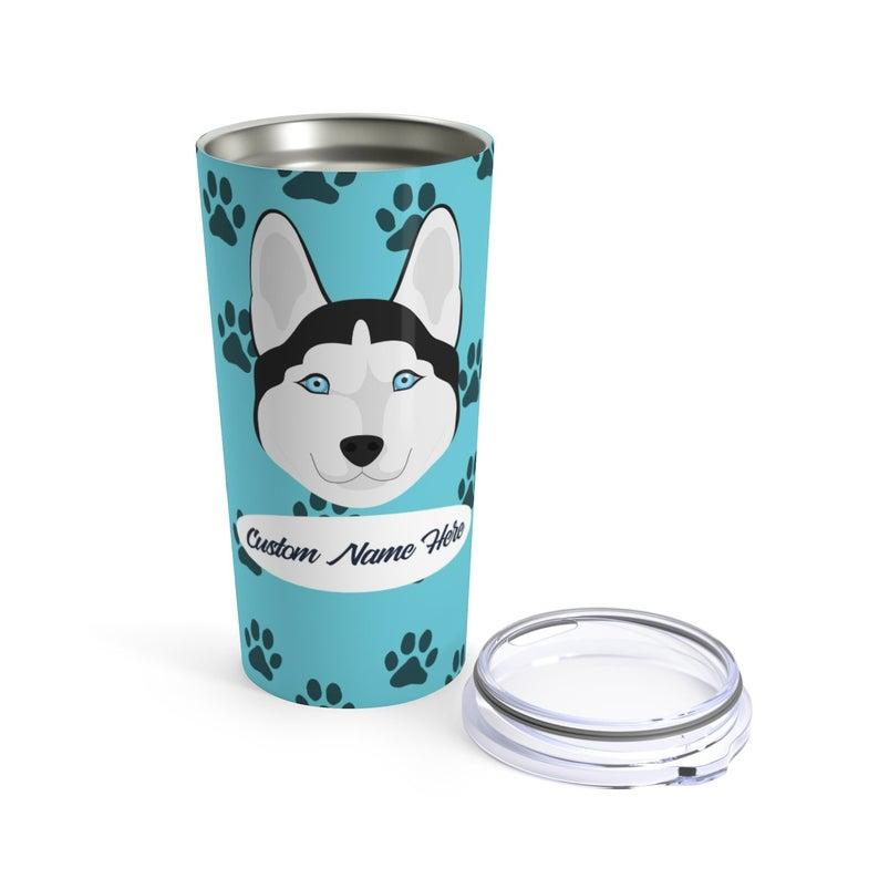 Love My Siberian Husky - Personalized Custom Travel Mug For Hot Coffee Cold Drinks - 20oz With Lid Dishwasher Safe Stainless Steel Tumbler