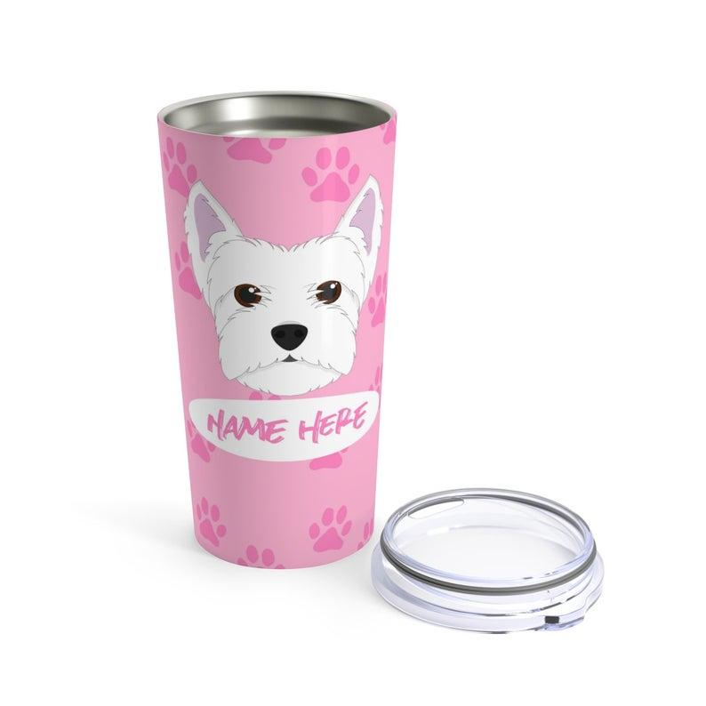 Love My Terrier - Personalized Custom Travel Mug For Hot Coffee Cold Drinks - 20oz With Lid Dishwasher Safe Stainless Steel Tumbler