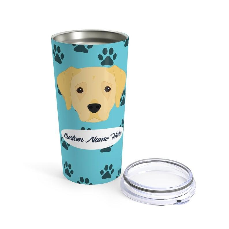 Love My Yellow Labrador - Personalized Custom Travel Mug For Hot Coffee Cold Drinks - 20oz With Lid Dishwasher Safe Stainless Steel Tumbler
