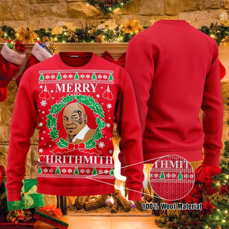 Mike Tyson Boxing Christmas 100% Wool Ugly Sweater