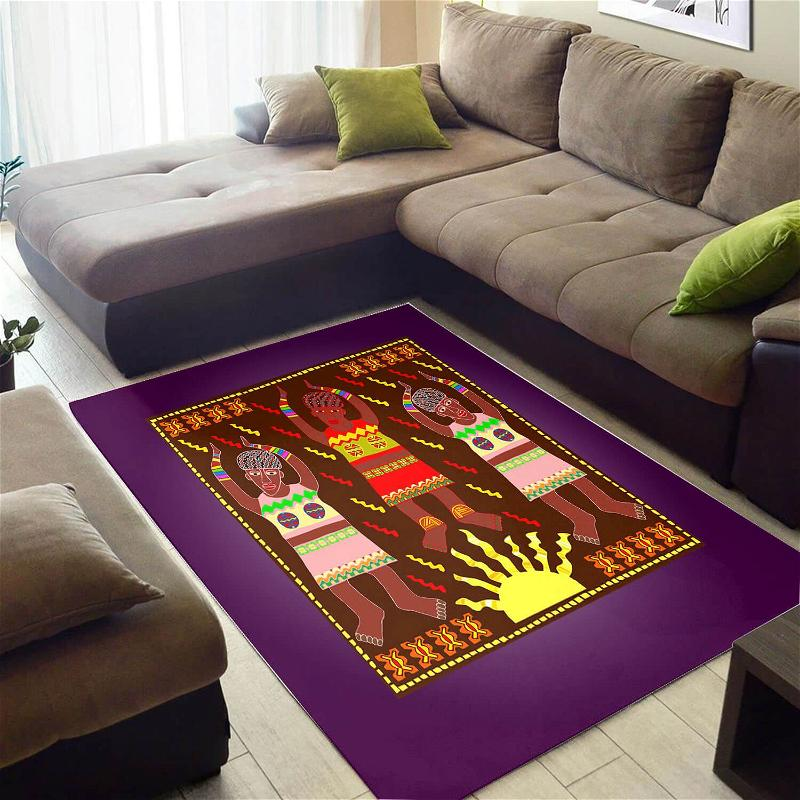 Modern African Abstract Natural Hair Afrocentric Pattern Art Design Floor Carpet Style Rug