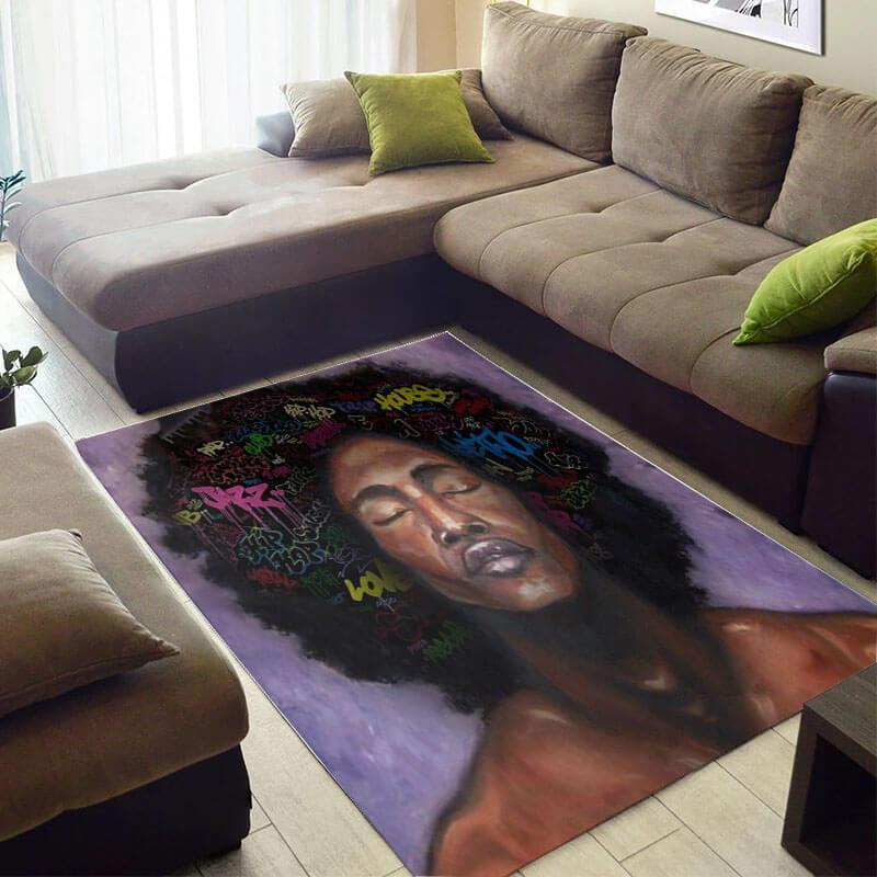Modern African Beautiful Afro American Woman Themed Carpet Living Room Rug