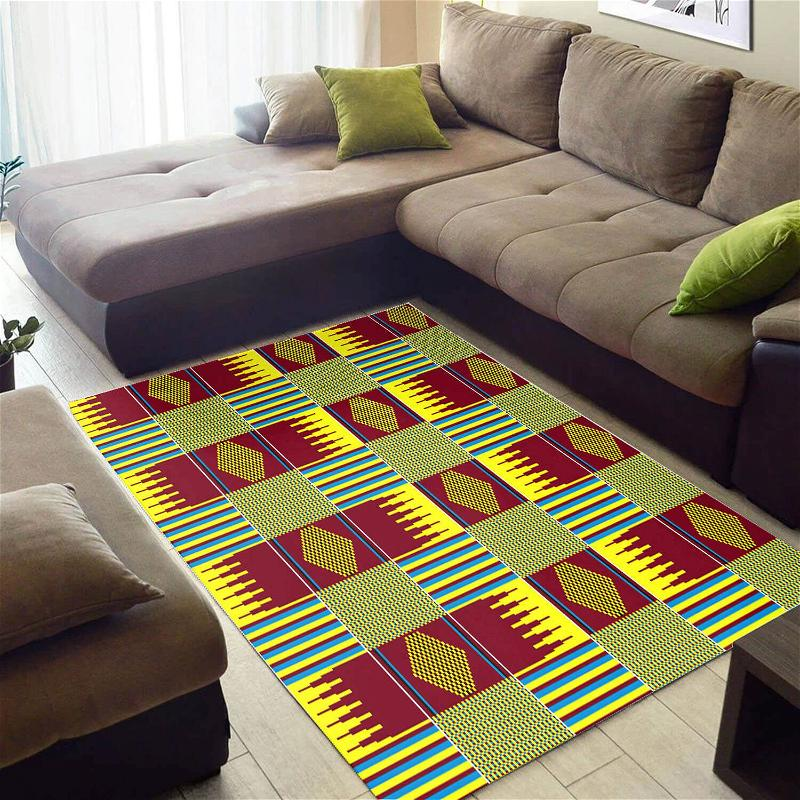 Modern African Style Graphic Afrocentric Art Large Carpet Inspired Living Room Rug