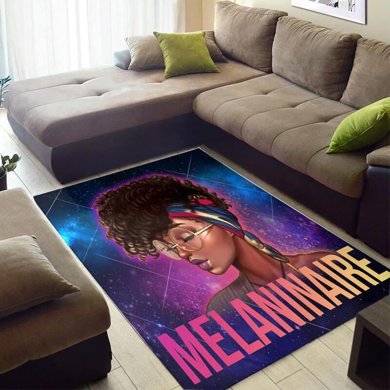 Modern African Style Pretty Inspired Melanin Afro Woman Galaxy Melaninaire Themed Carpet Rug