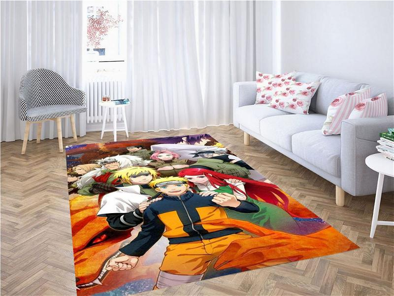Naruto Fanart With All Characters Carpet Rug