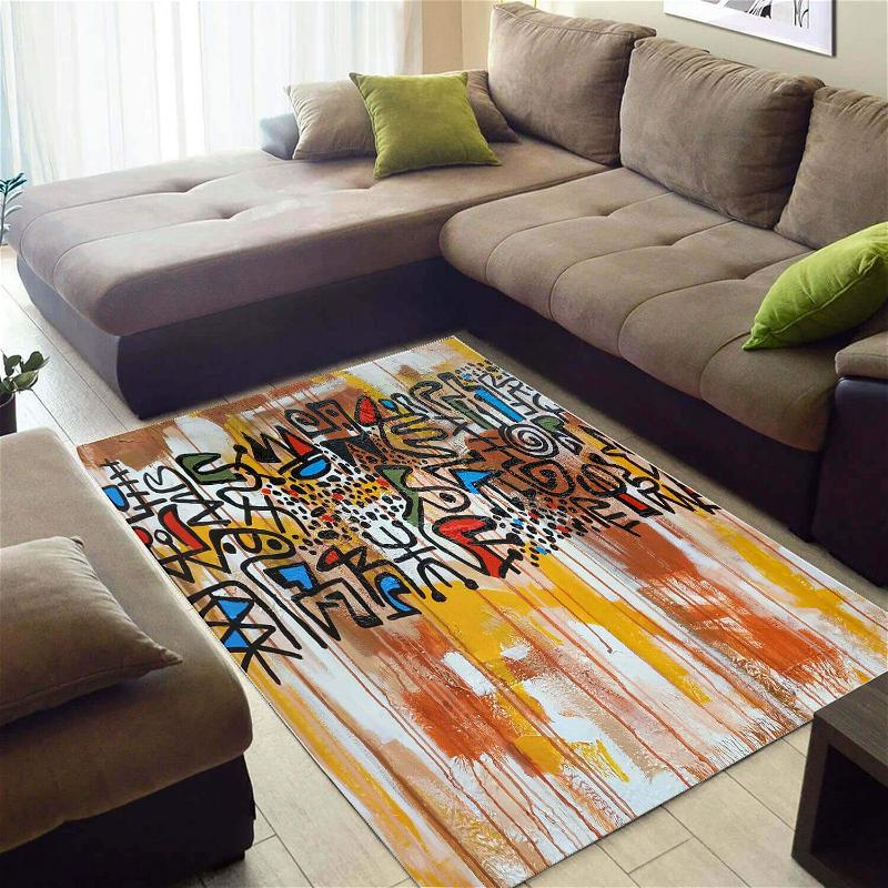 Nice African Attractive American Ethnic Seamless Pattern Themed Carpet Living Room Rug
