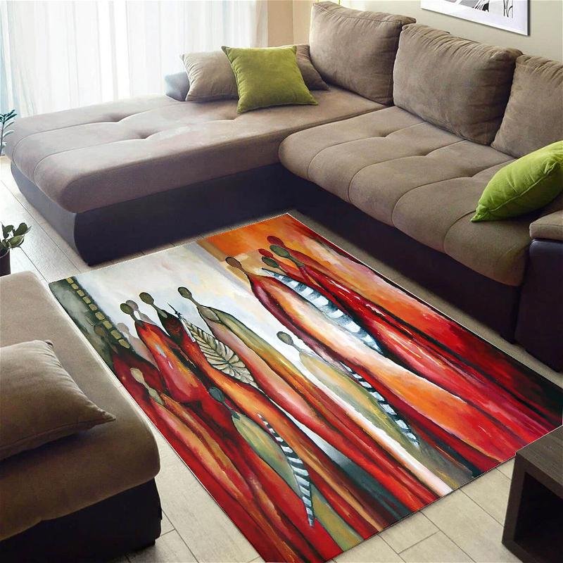 Nice African Style Pretty Natural Hair Afro Lady Floor Living Room Rug