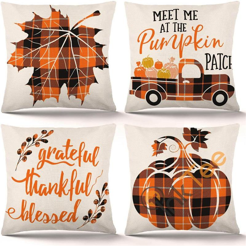 Set Of 4 Autumn Farmhouse Buffalo Plaid Pillow Covers Holiday Rustic Linen Thanksgiving Fall Decorations Personalized Gifts