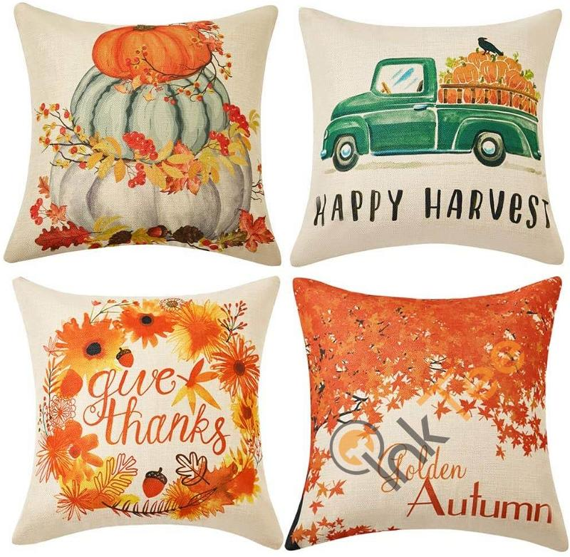 Set Of 4 Fall Pillow Covers 18x18 Inch Happy Harvest Give Thanks Golden Autum Theme Cotton Linen Personalized Gifts