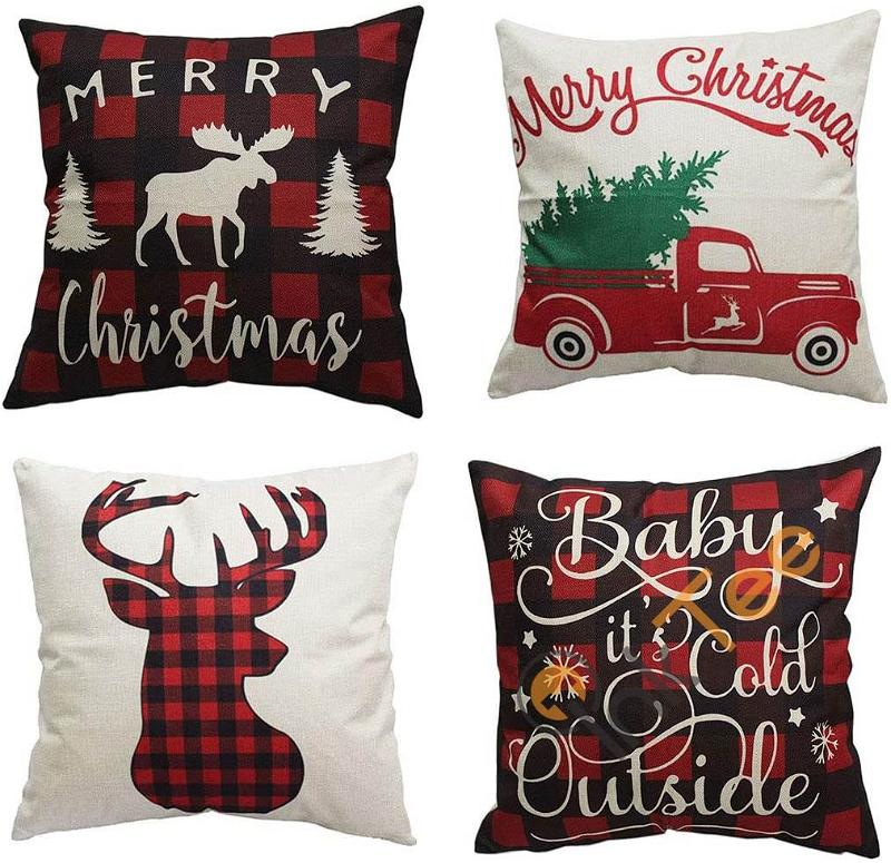 Set Of 4 Merry Christmas And Christmas Tree Decorations Cotton Linen Winter Deer Pillow Covers Personalized Gifts
