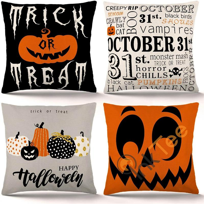 Set Of 4 Trick Or Treat Pumpkin Pillow Covers Holiday Rustic Linen Decorations Personalized Gifts