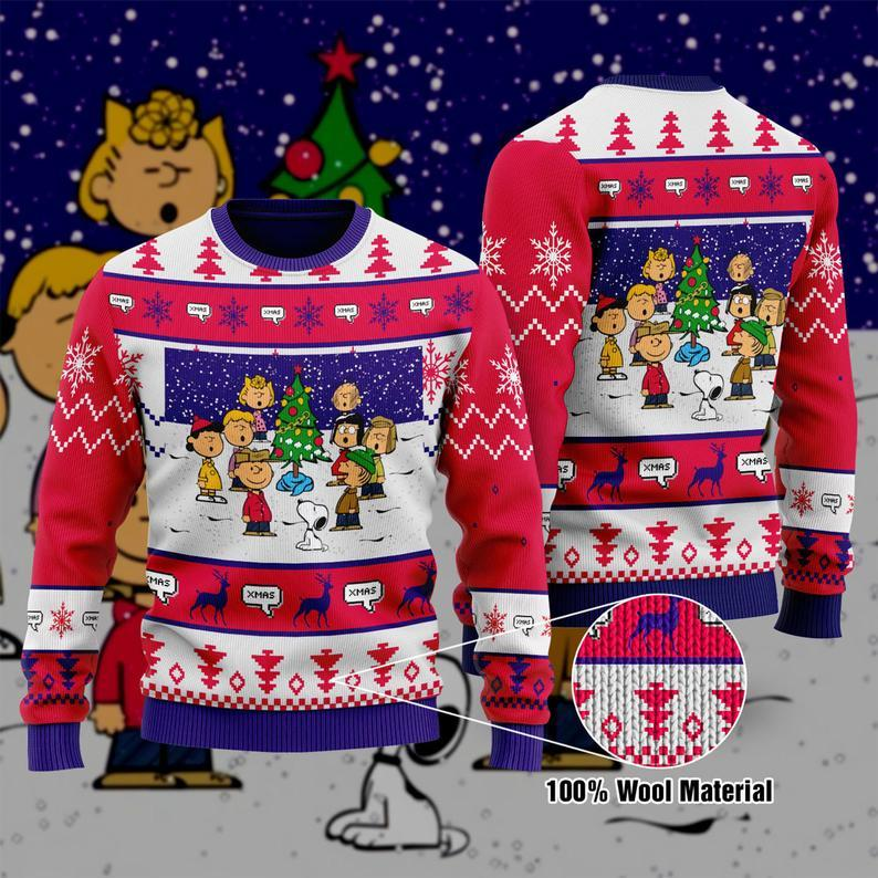 Snoopy Christmas Charlie Brown Unisex Adult Santa Claus 100% Wool Ugly Sweater