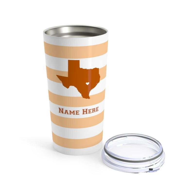 State Pride Series Austin Texas - Personalized Custom Tumbler Travel Mug For Warm Cold Drinks - 20oz With Lid Dishwasher Safe Stainless Steel Tumbler