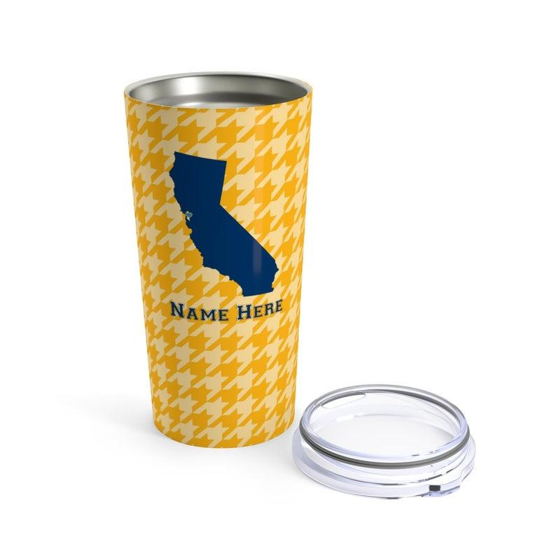 State Pride Series Berkeley California - Personalized Custom Tumbler Travel Mug For Warm Cold Drinks - 20oz With Lid Dishwasher Safe Stainless Steel Tumbler