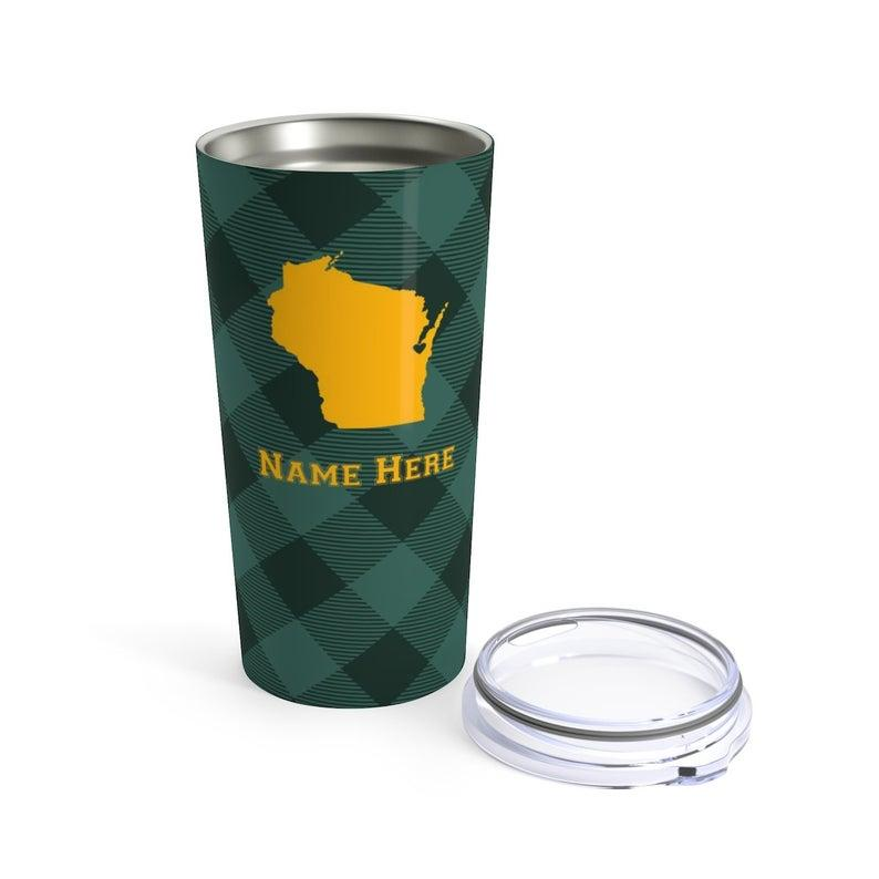 State Pride Series Green Bay Wisconsin - Personalized Custom Tumbler Travel Coffee Mug For Warm Cold Drinks - 20oz With Lid Dishwasher Safe Stainless Steel Tumbler