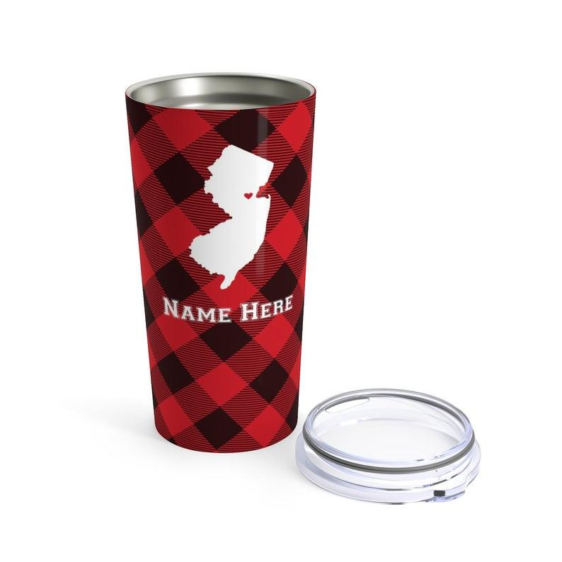 State Pride Series New Brunswick New Jersey - Personalized Custom Tumbler Travel Mug For Warm Cold Drinks - 20oz With Lid Dishwasher Safe Stainless Steel Tumbler