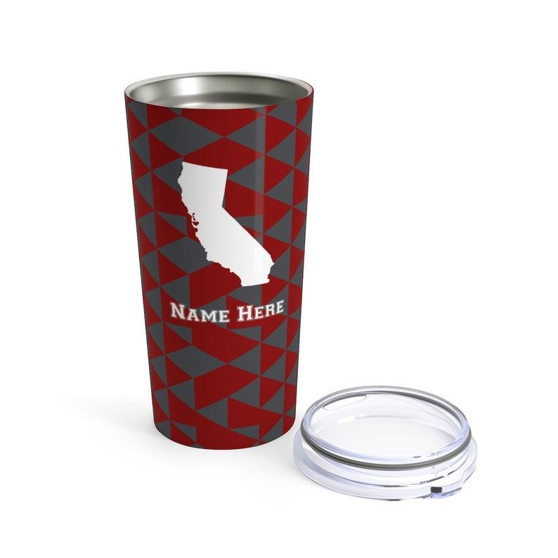 State Pride Series Palo Alto California - Personalized Custom Tumbler Travel Mug For Warm Cold Drinks - 20oz With Lid Dishwasher Safe Stainless Steel Tumbler