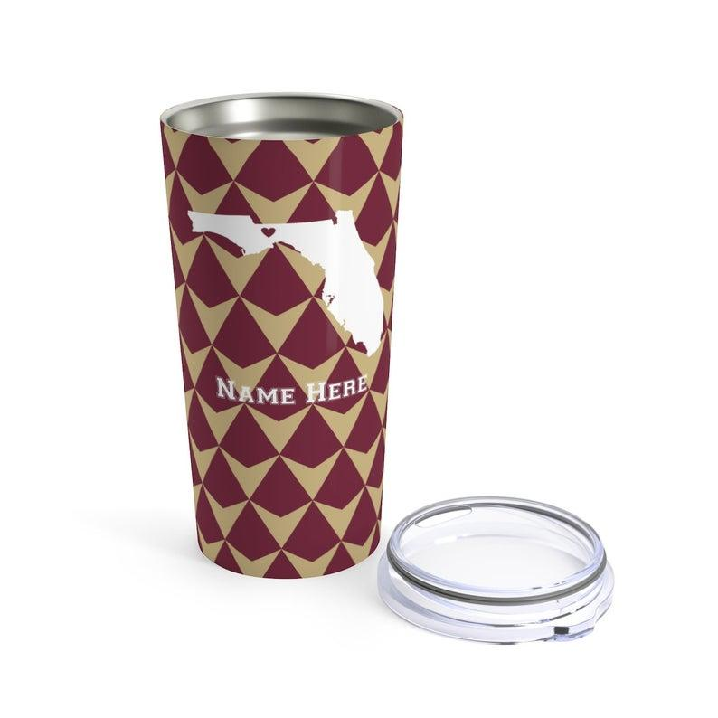 State Pride Series Tallahassee Florida - Personalized Custom Tumbler Travel Mug For Warm Cold Drinks - 20oz With Lid Dishwasher Safe Stainless Steel Tumbler
