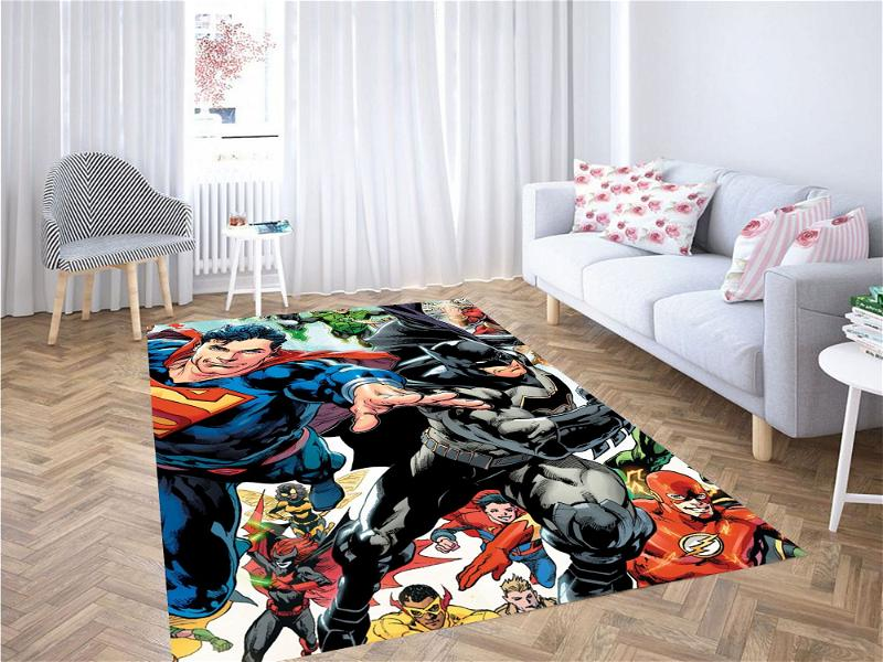 Superman And Batman With Another Character Carpet Rug