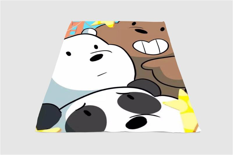 Three We Bare Bears Close Up Fleece Blanket