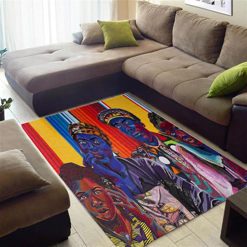 Trendy African American Pretty Afro Lady Style Floor Rug