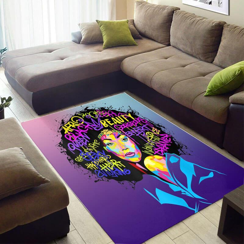 Trendy African Style Pretty American Black Art Lady Themed Carpet House Rug