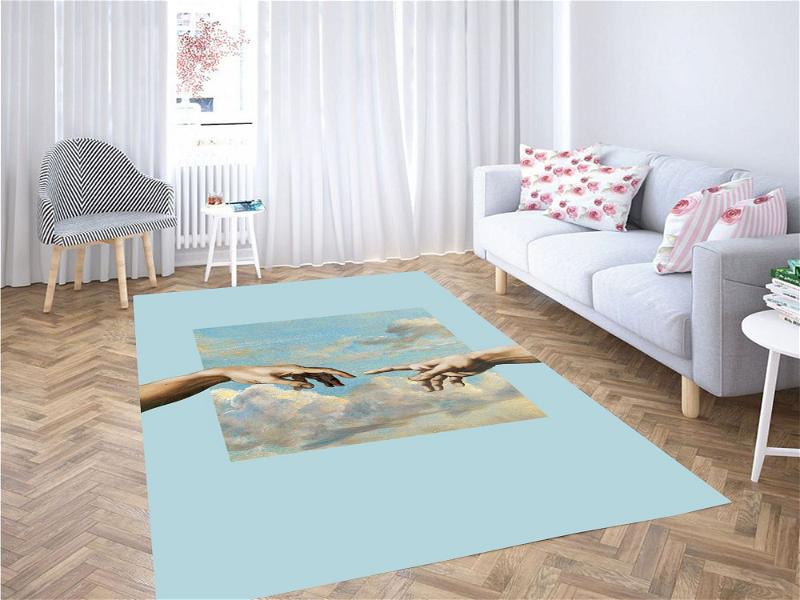 Two Hands Touching Painting Carpet Rug