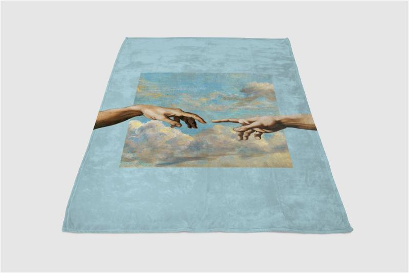 Two Hands Touching Painting Fleece Blanket