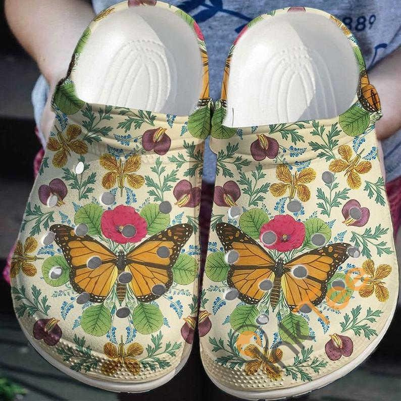 Vintage Butterfly With Flower Decor Crocs Clog Shoes