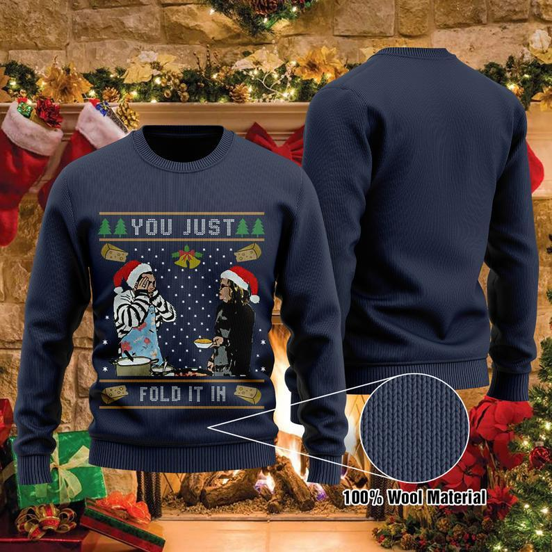 You Just Fold It In The Cheese Christmas 100% Wool Ugly Sweater