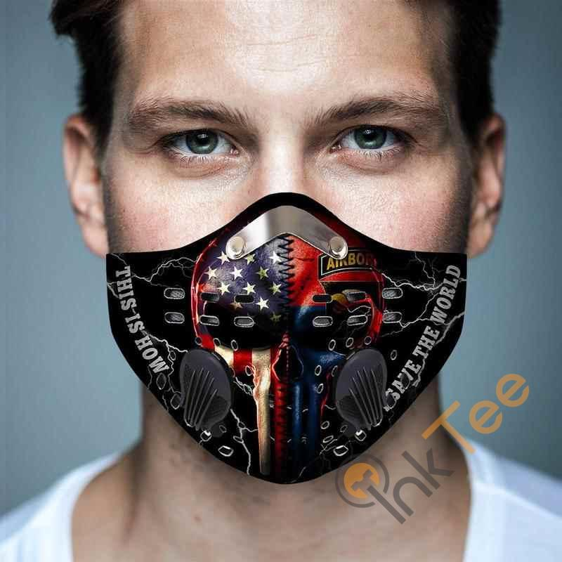 101st Airborne Division Punisher Flagfilter Activated Carbon Pm 2.5 Fm Face Mask