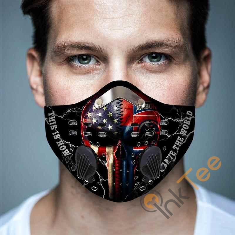 82nd Airborne Division Punisher Flagfilter Activated Carbon Pm 2.5 Fm Face Mask