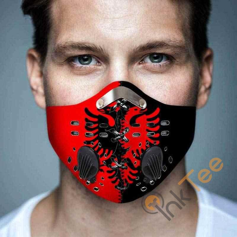 Albania Flag Filter Activated Carbon Pm 2.5 Fm Face Mask