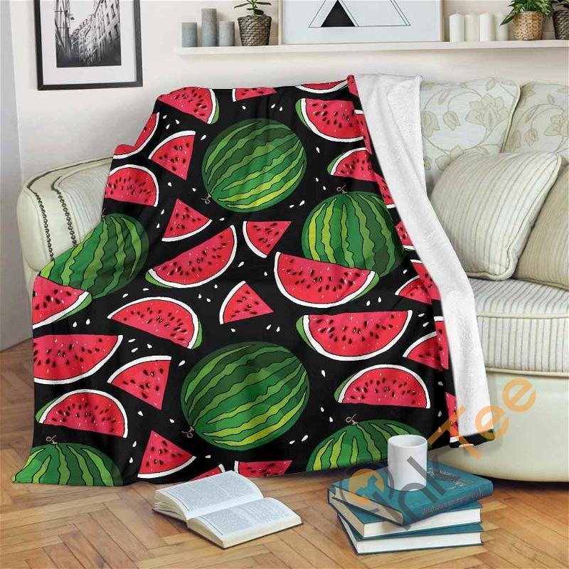 Black Watermelon Pieces Pattern Premium Fleece Blanket