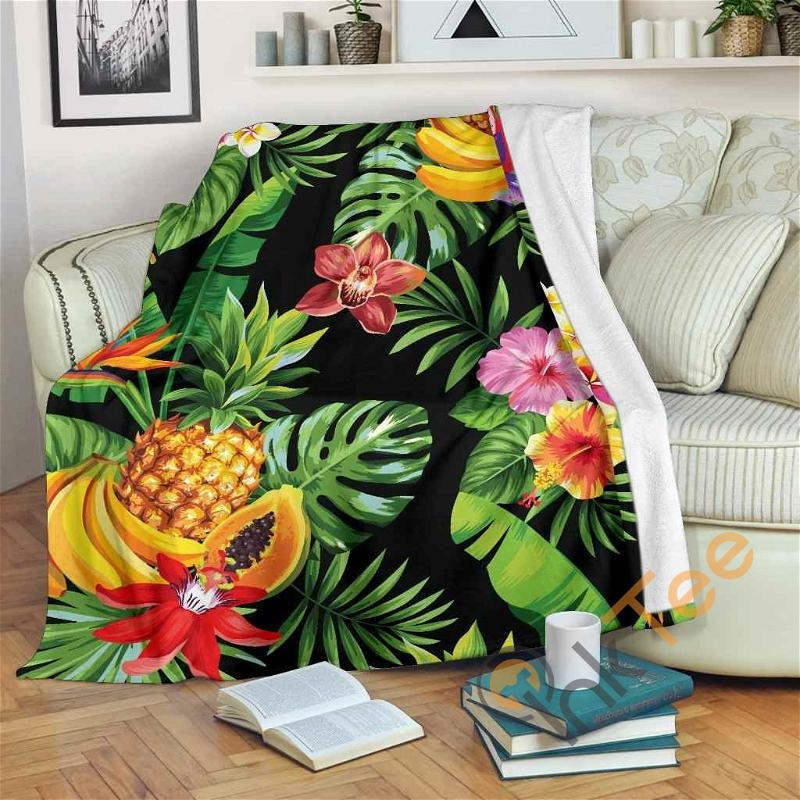 Tropical Hawaiian Fruits Pattern Premium Fleece Blanket
